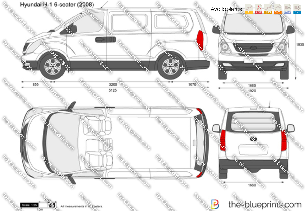 The-Blueprints.com - Vector Drawing - Hyundai H-1 6-seater Panel Van