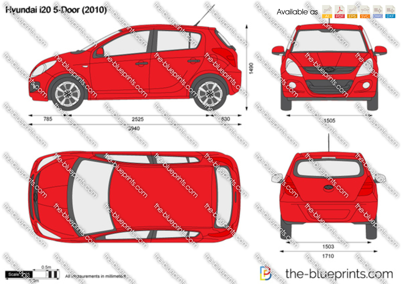 Hyundai I20 5 Door Vector Drawing