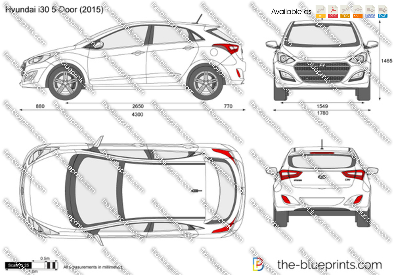 Hyundai I30 Vector Drawing