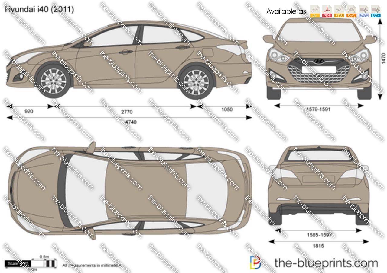 Hyundai I40 Vector Drawing