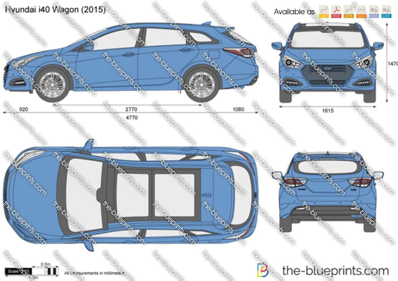 Hyundai I40 Cw Vector Drawing
