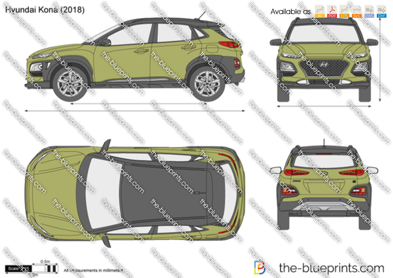 hyundai kona vector drawing