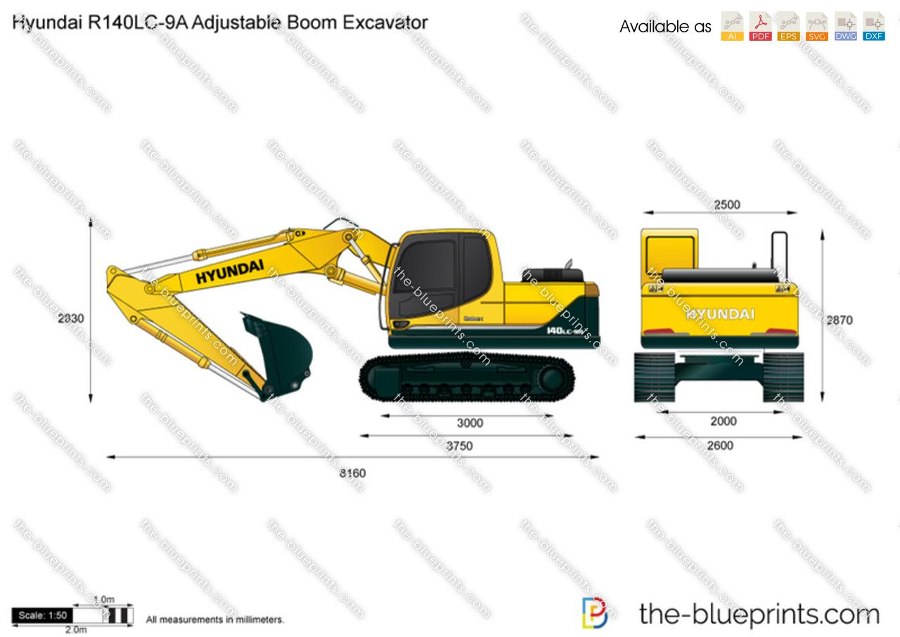 Hyundai R140LC-9A Adjustable Boom Excavator