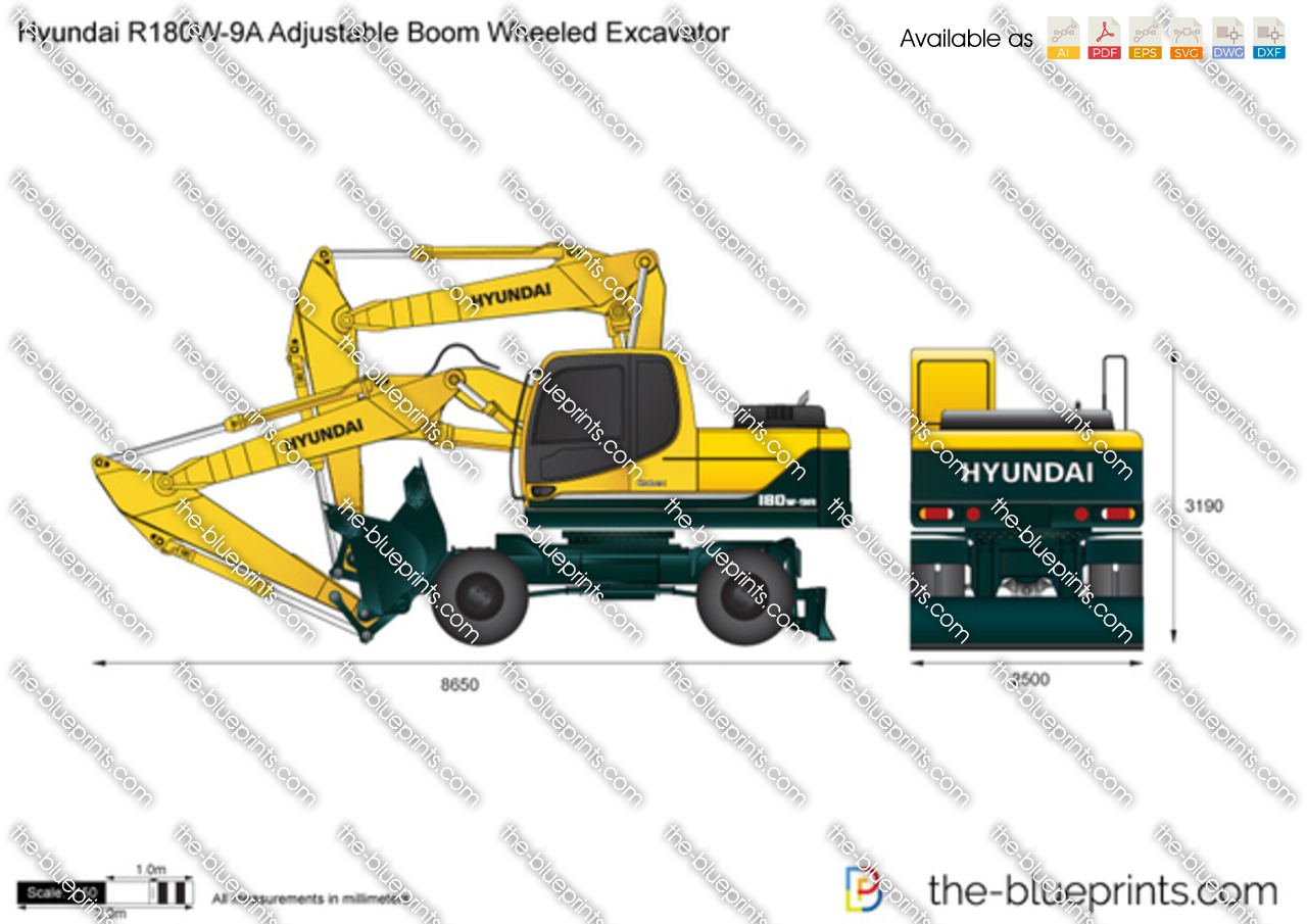 Hyundai R180W-9A Adjustable Boom Wheeled Excavator