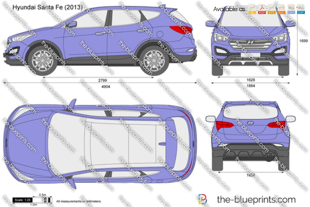 The vector drawing hyundai santa fe for Where to get blueprints