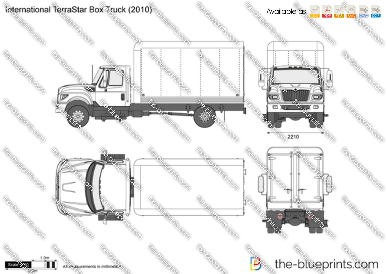 international terrastar box truck vector drawing