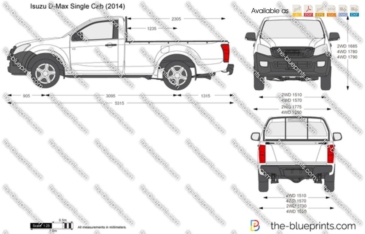 The Vector Drawing Isuzu D Max Single Cab