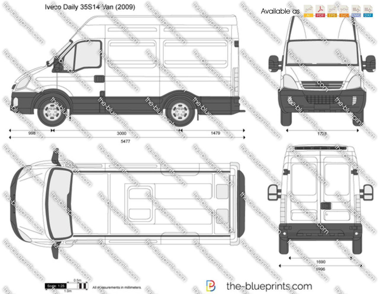Iveco Daily 35s14 Van Vector Drawing