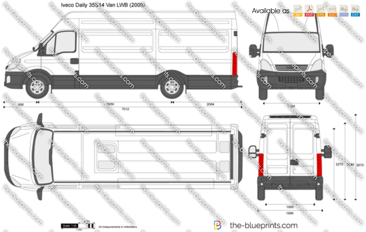 Mercedes Sprinter Prices >> Iveco Daily 35S14 Van LWB vector drawing