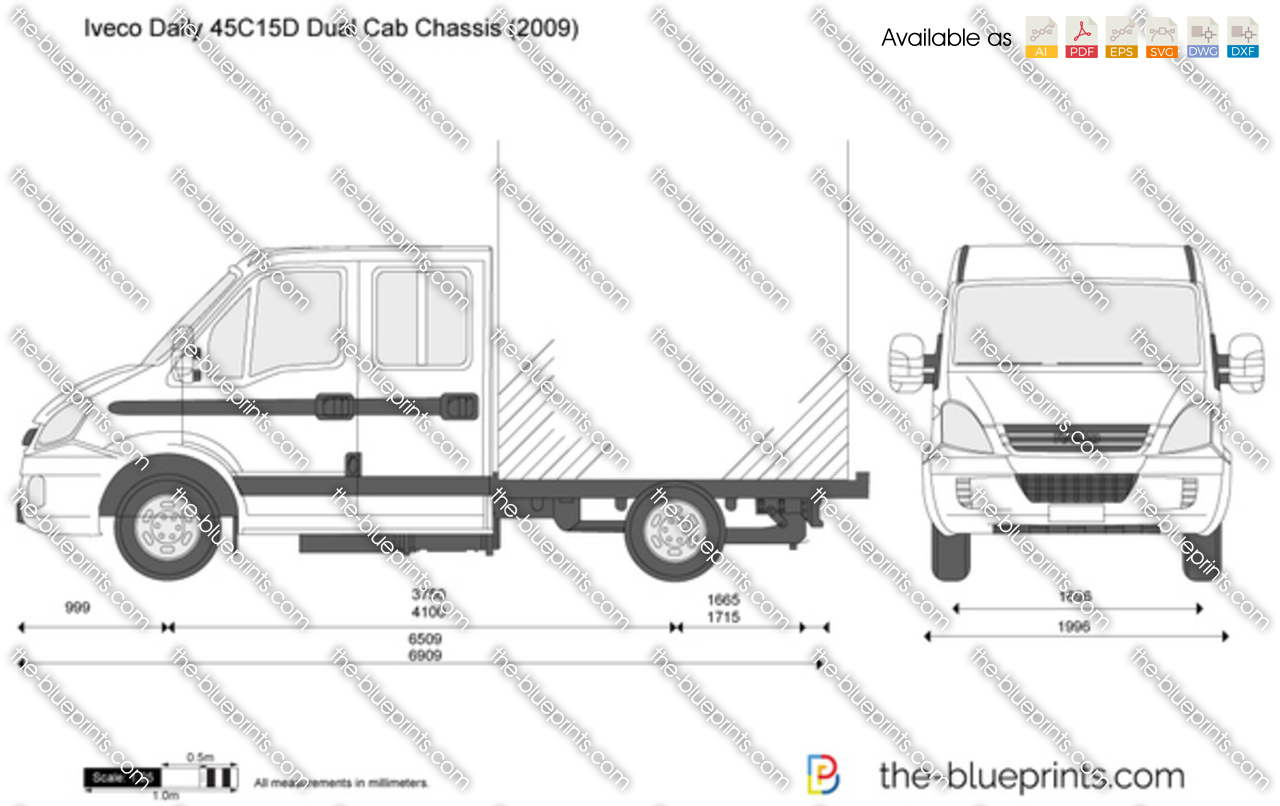 iveco daily 45c15d dual cab chassis vector drawing