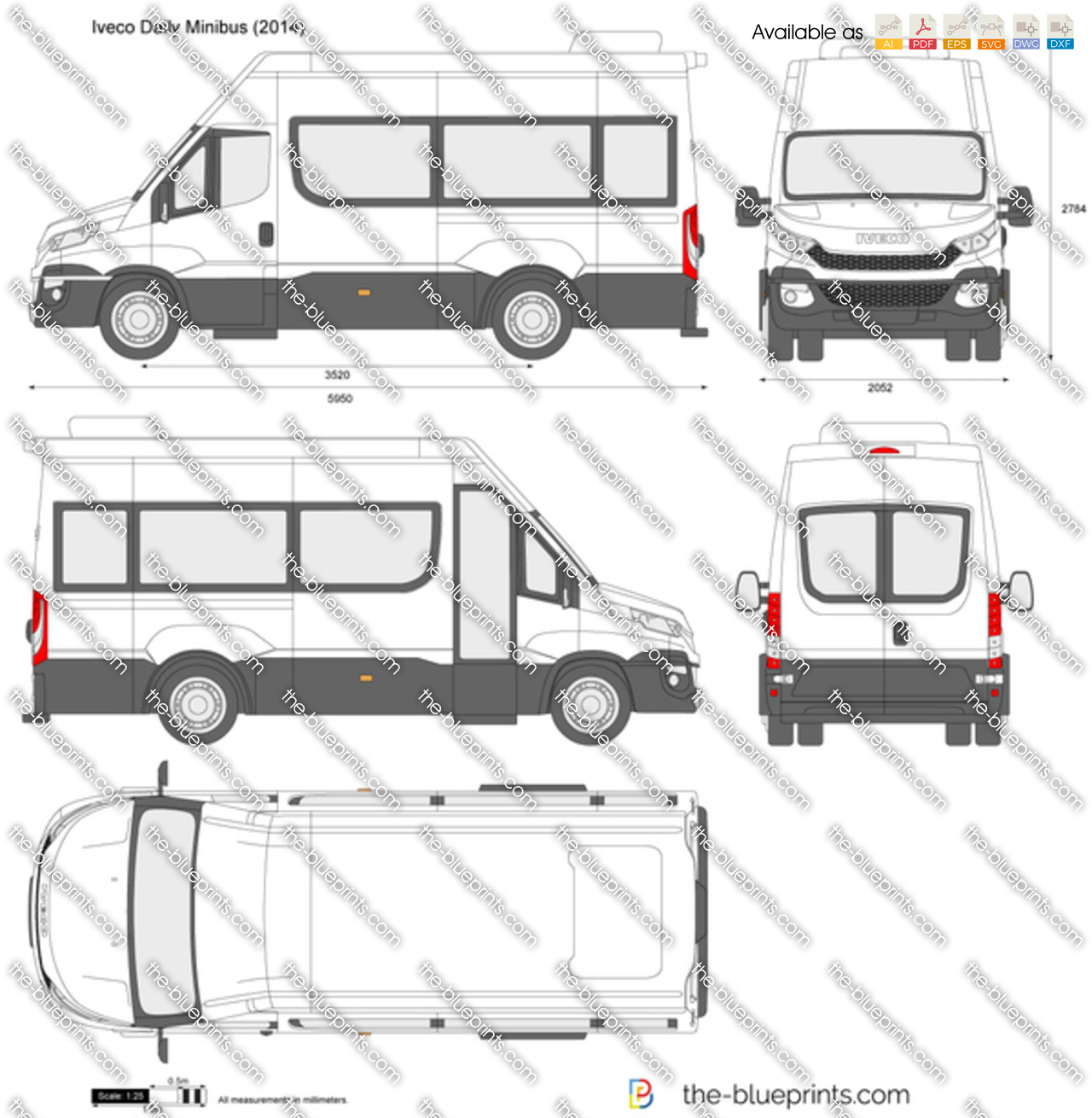 iveco daily minibus vector drawing. Black Bedroom Furniture Sets. Home Design Ideas