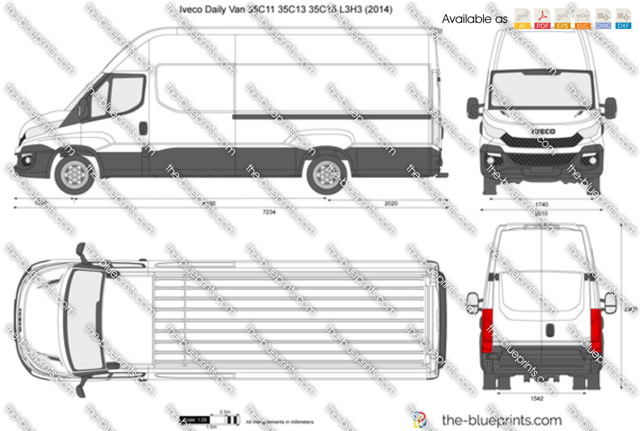 iveco daily van 35c11 35c13 35c15 l3h3 vector drawing. Black Bedroom Furniture Sets. Home Design Ideas