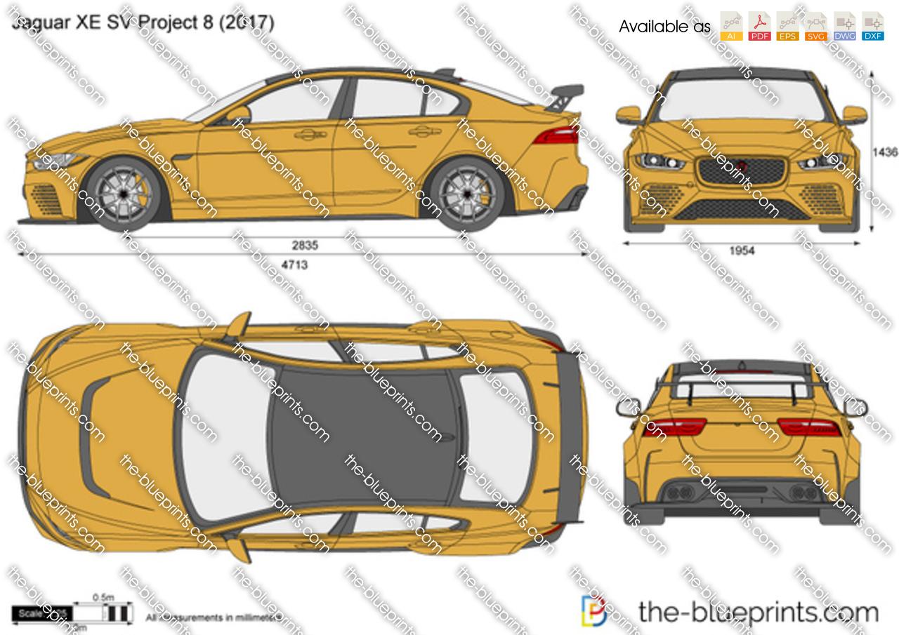 Jaguar XE SV Project 8 vector drawing