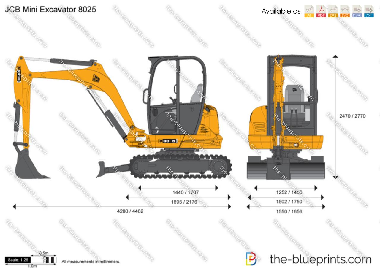JCB 8025 Mini Excavator vector drawing