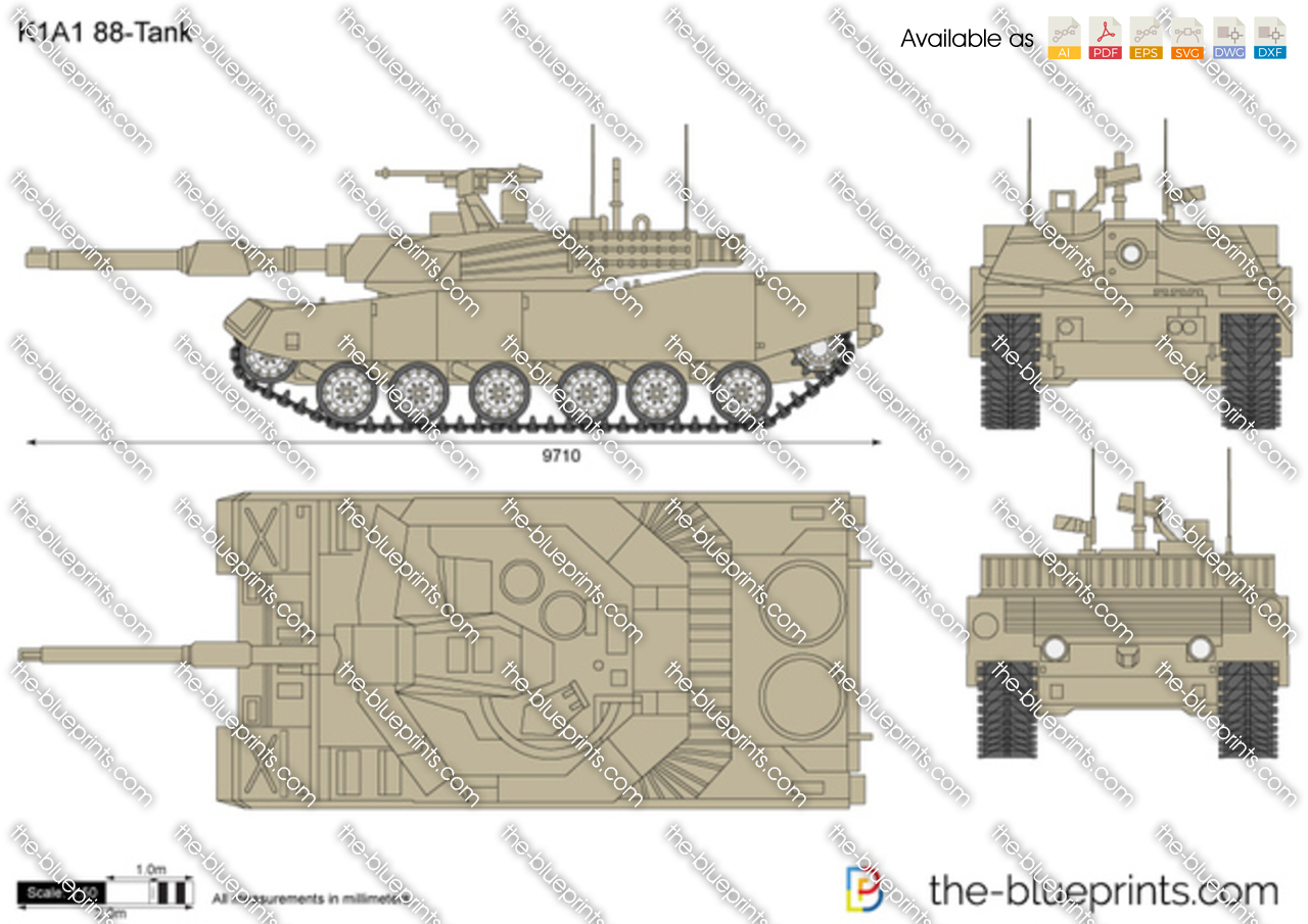 The Vector Drawing K1a1 88 Tank
