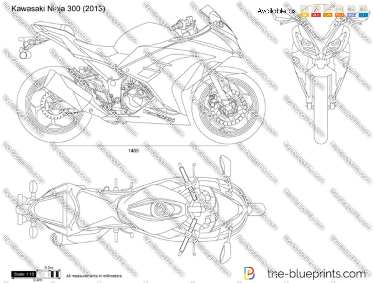 The blueprints vector drawing kawasaki ninja 300 kawasaki ninja 300 malvernweather Choice Image