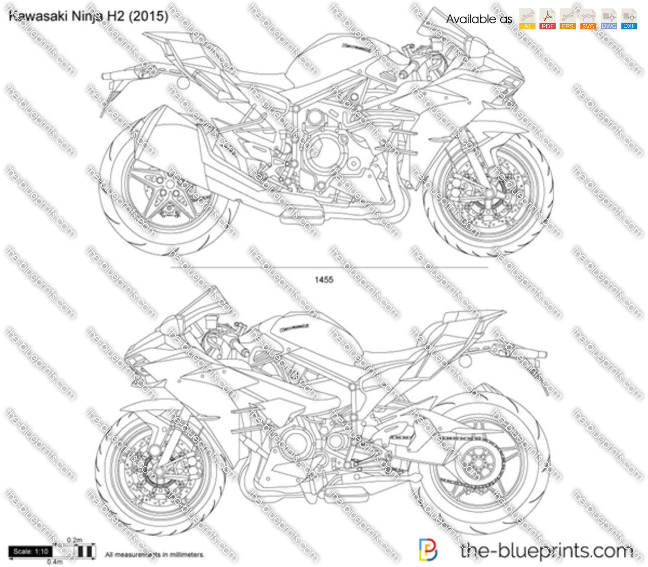 kawasaki ninja h2 vector drawing