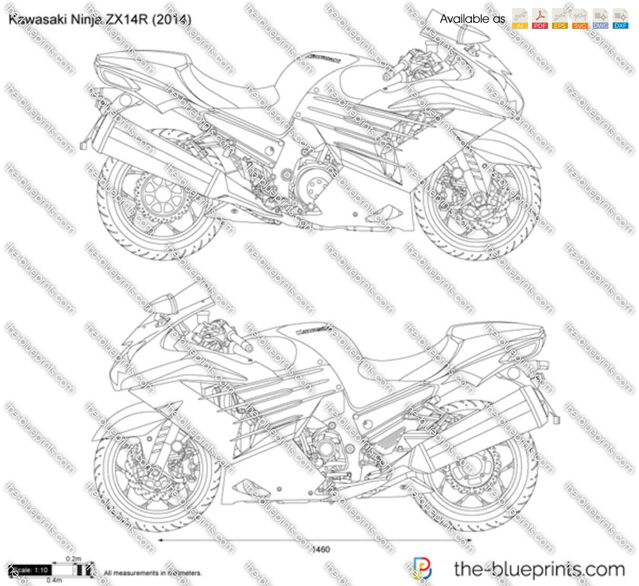 Kawasaki Ninja Zx14r Vector Drawing