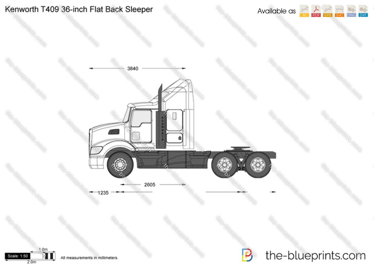 Kenworth T409 36-inch Flat Back Sleeper