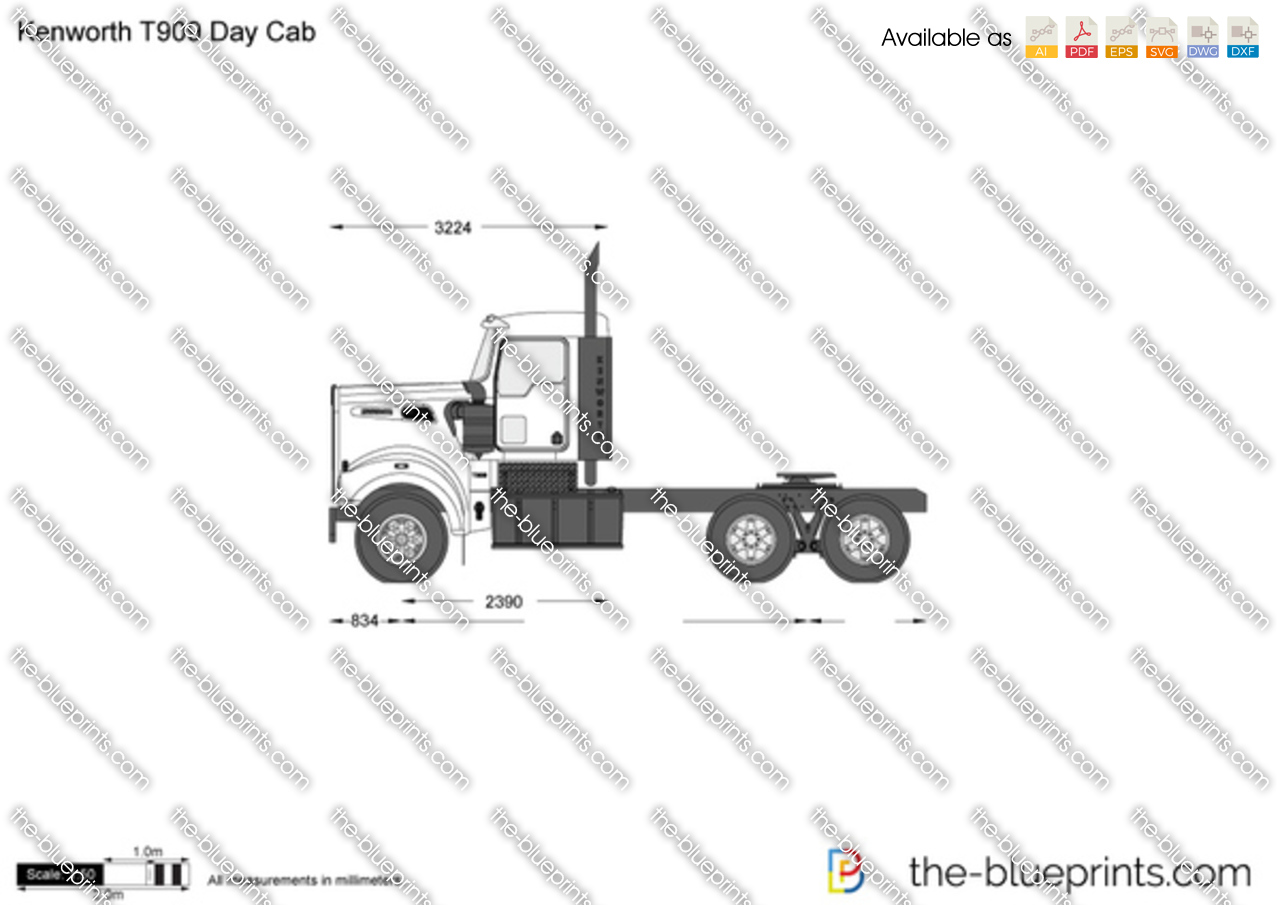 The vector drawing kenworth t909 day cab for Blueprints for sale