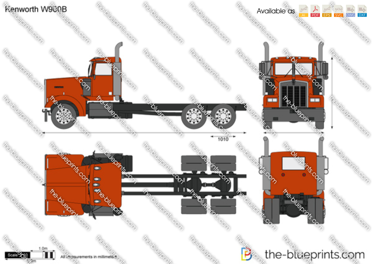 The Blueprints Com Vector Drawing Kenworth W900b