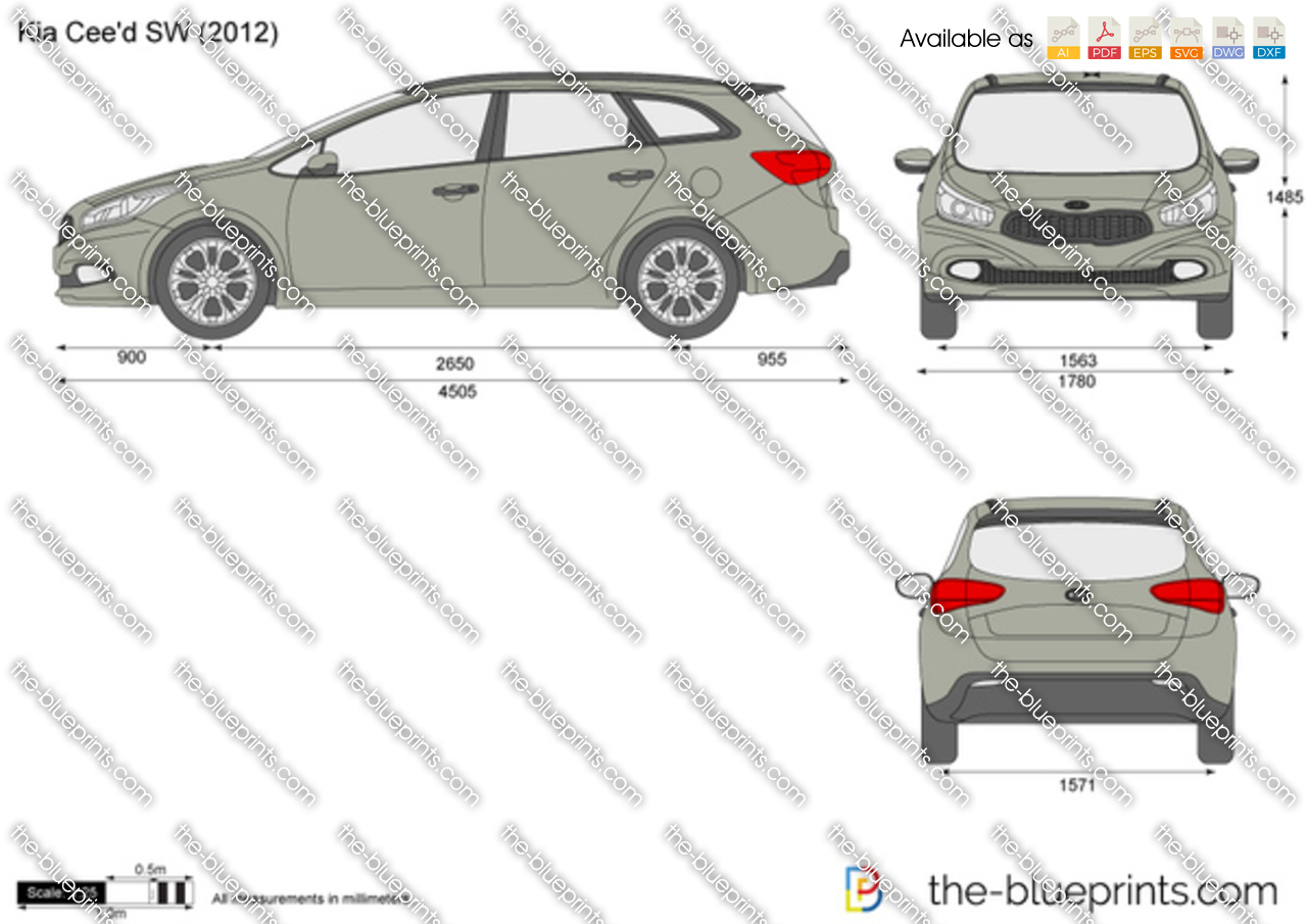 Kia Cee D Sw Vector Drawing