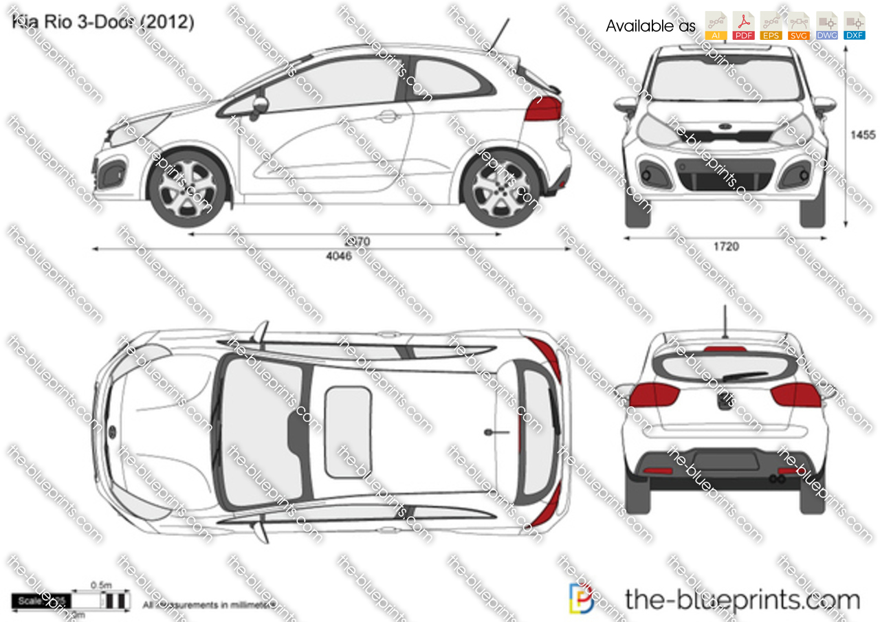 2011 Kia Soul >> Kia Rio 3-Door vector drawing