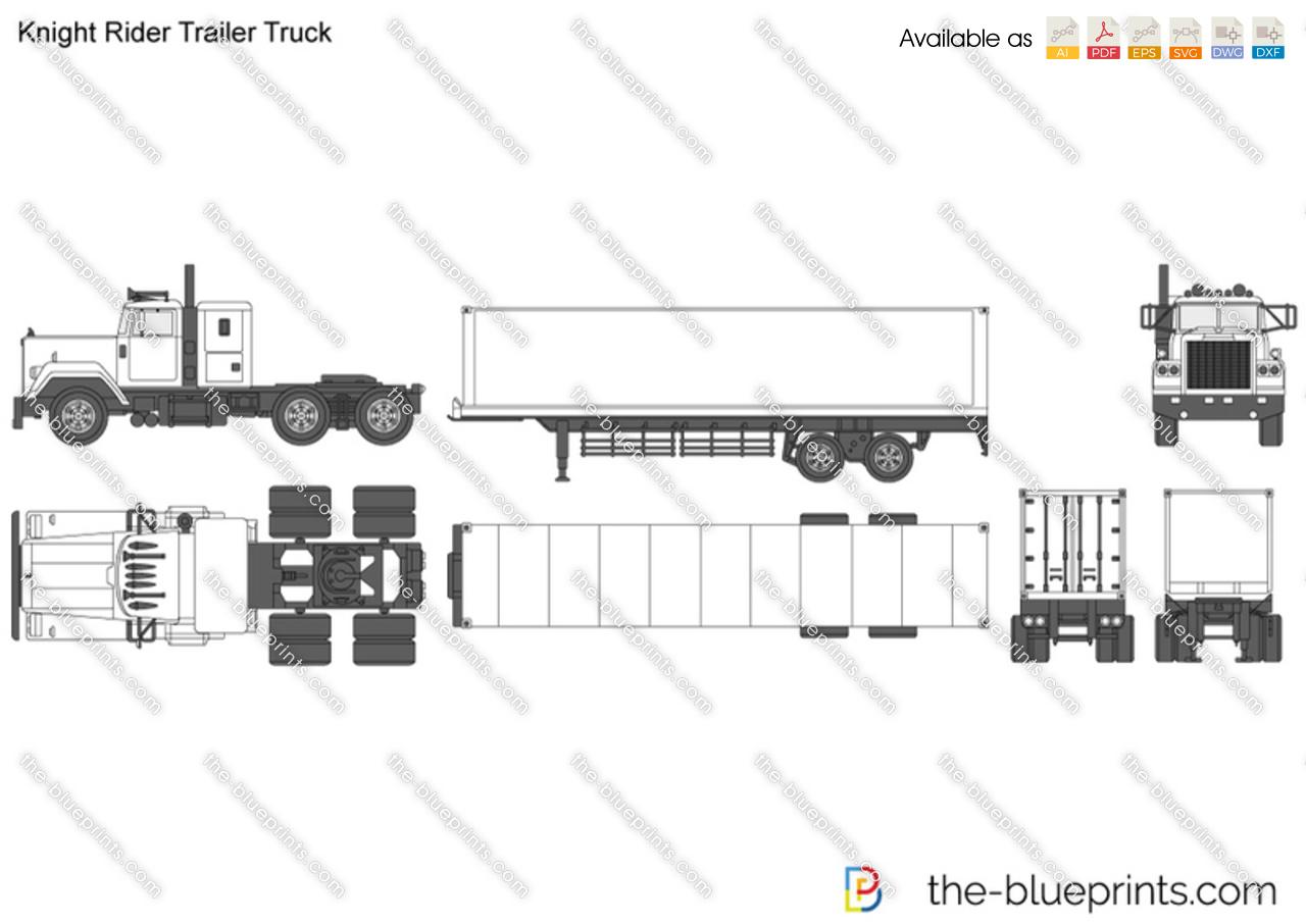 Knight Rider Trailer Truck Vector Drawing