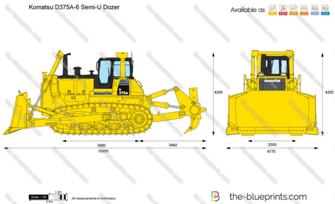 Komatsu D375a 6 Semi U Dozer Vector Drawing