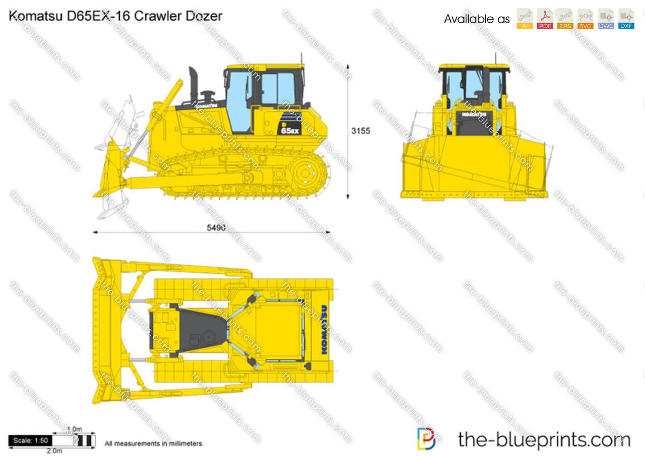 Komatsu D65ex 16 Crawler Dozer Vector Drawing