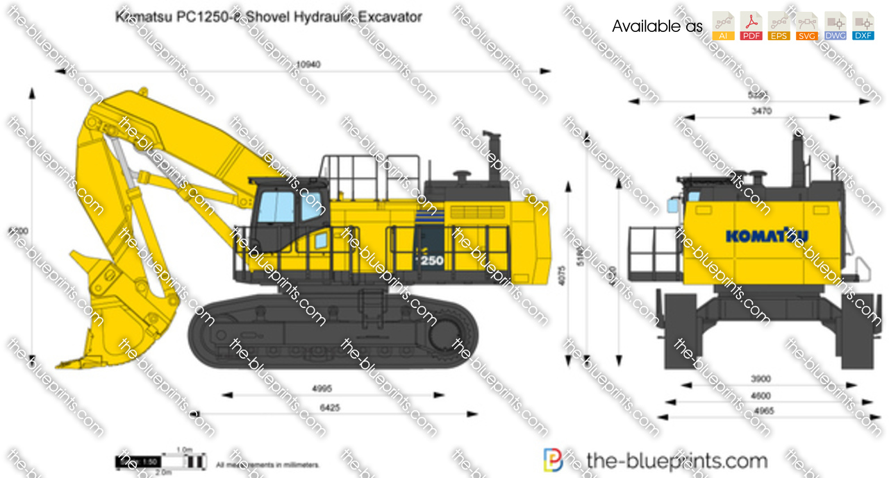 Komatsu pc1250 8 shovel hydraulic excavator vector drawing for How to make a blueprint
