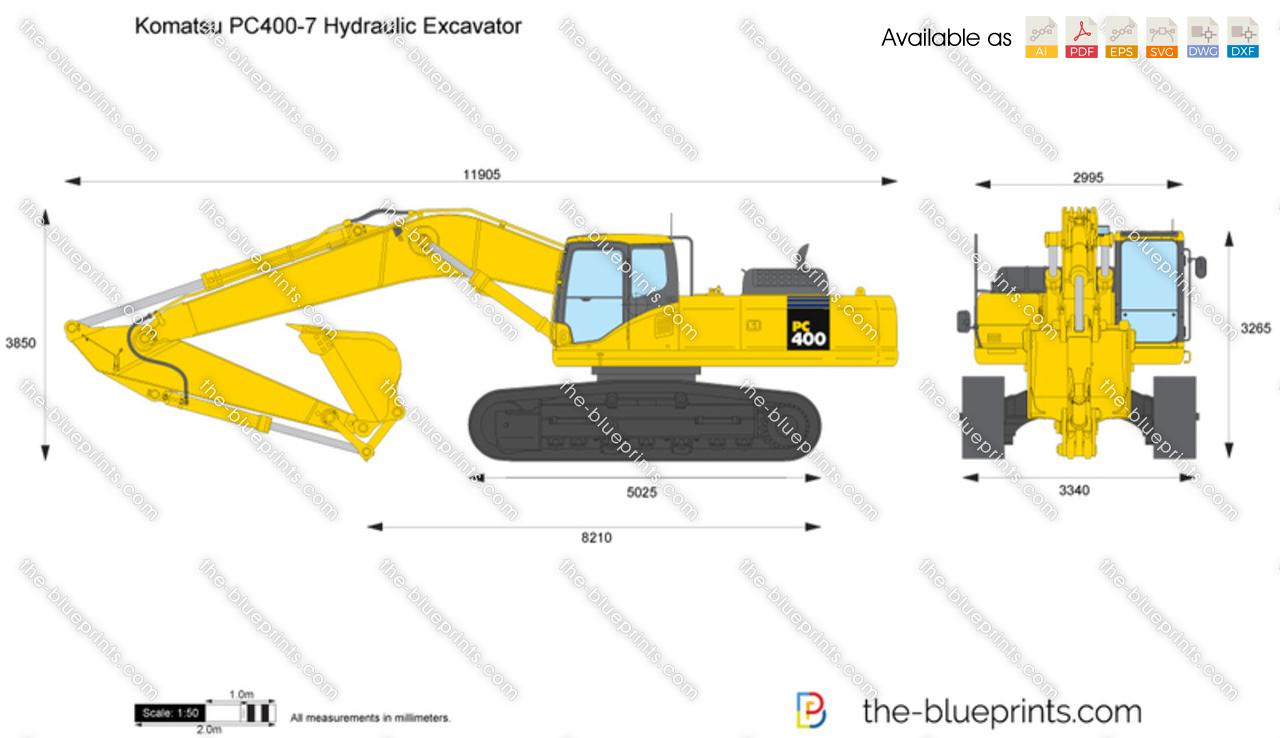 Komatsu Pc400 7 Hydraulic Excavator Vector Drawing