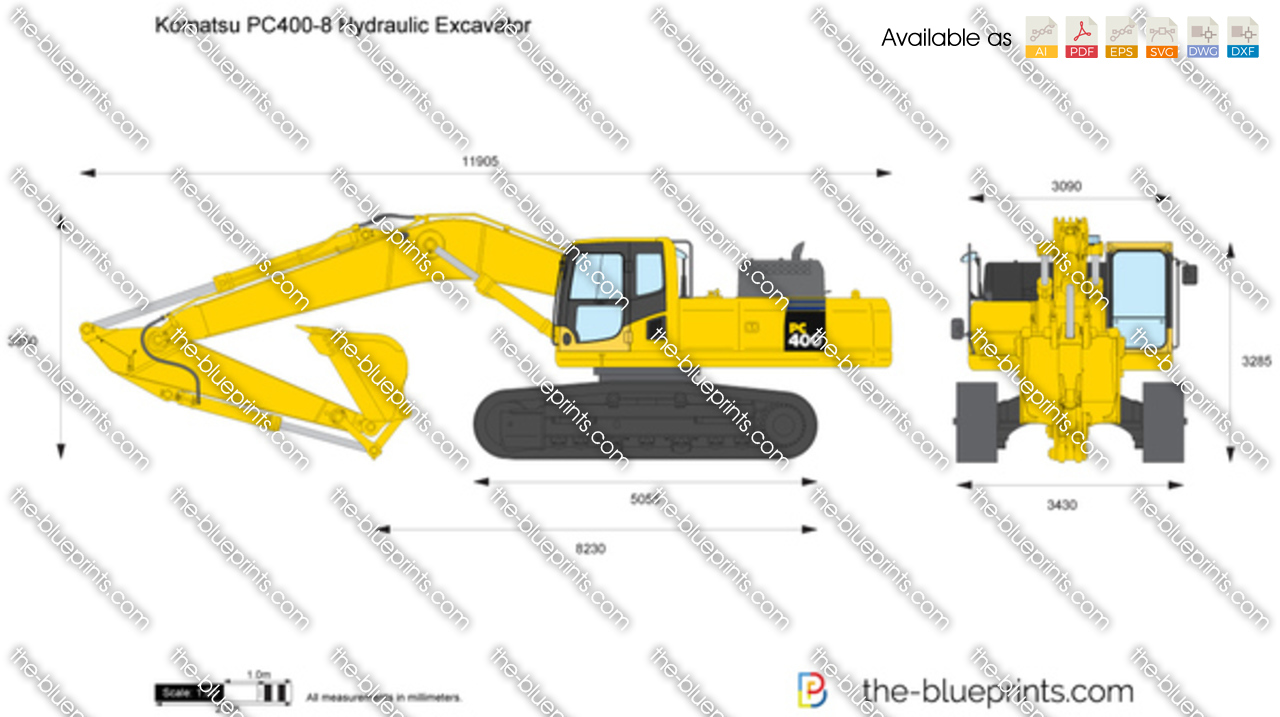 Komatsu Pc400 8 Hydraulic Excavator Vector Drawing