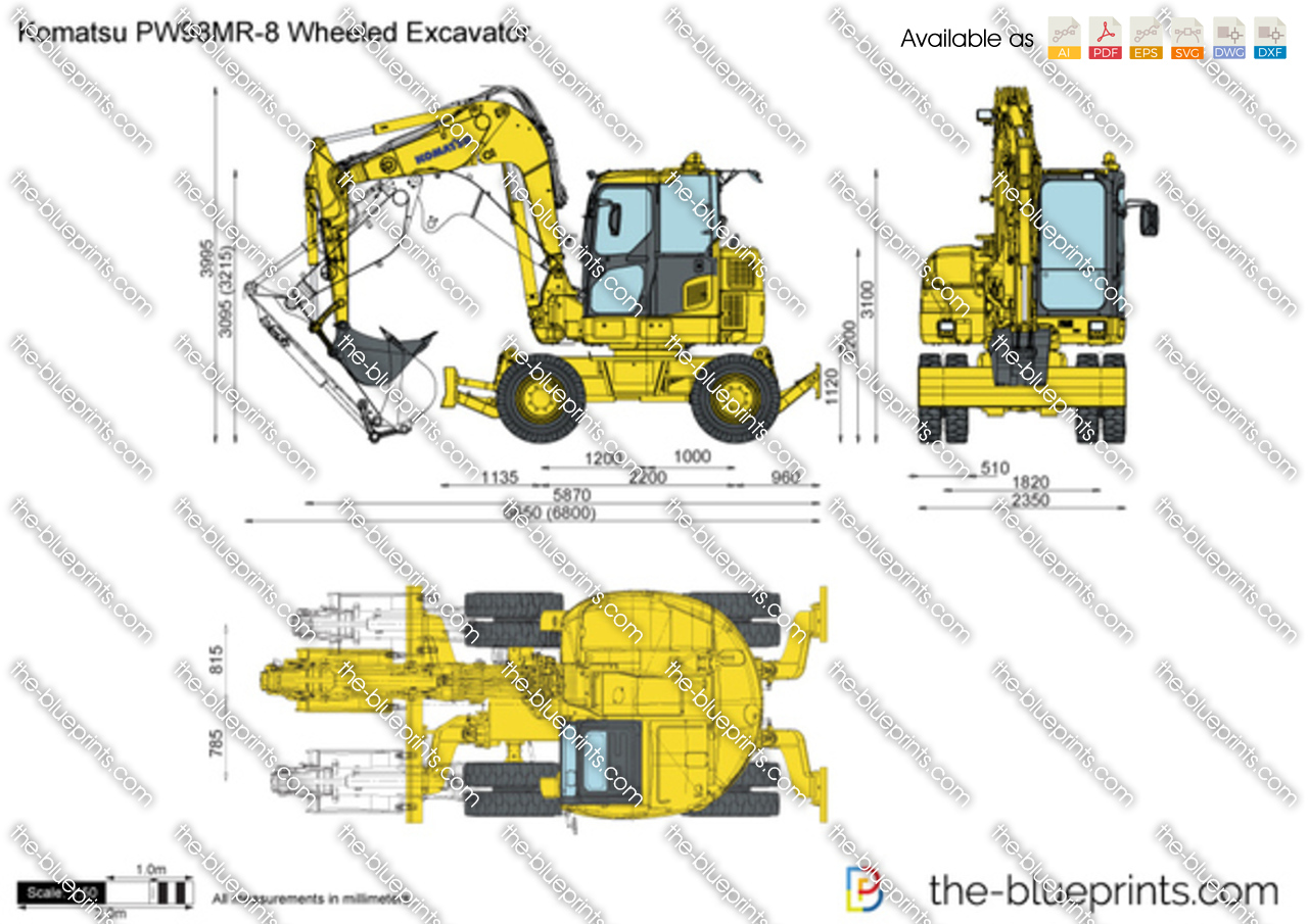 Draw With Measurements Online Komatsu Pw98mr 8 Wheeled Excavator Vector Drawing