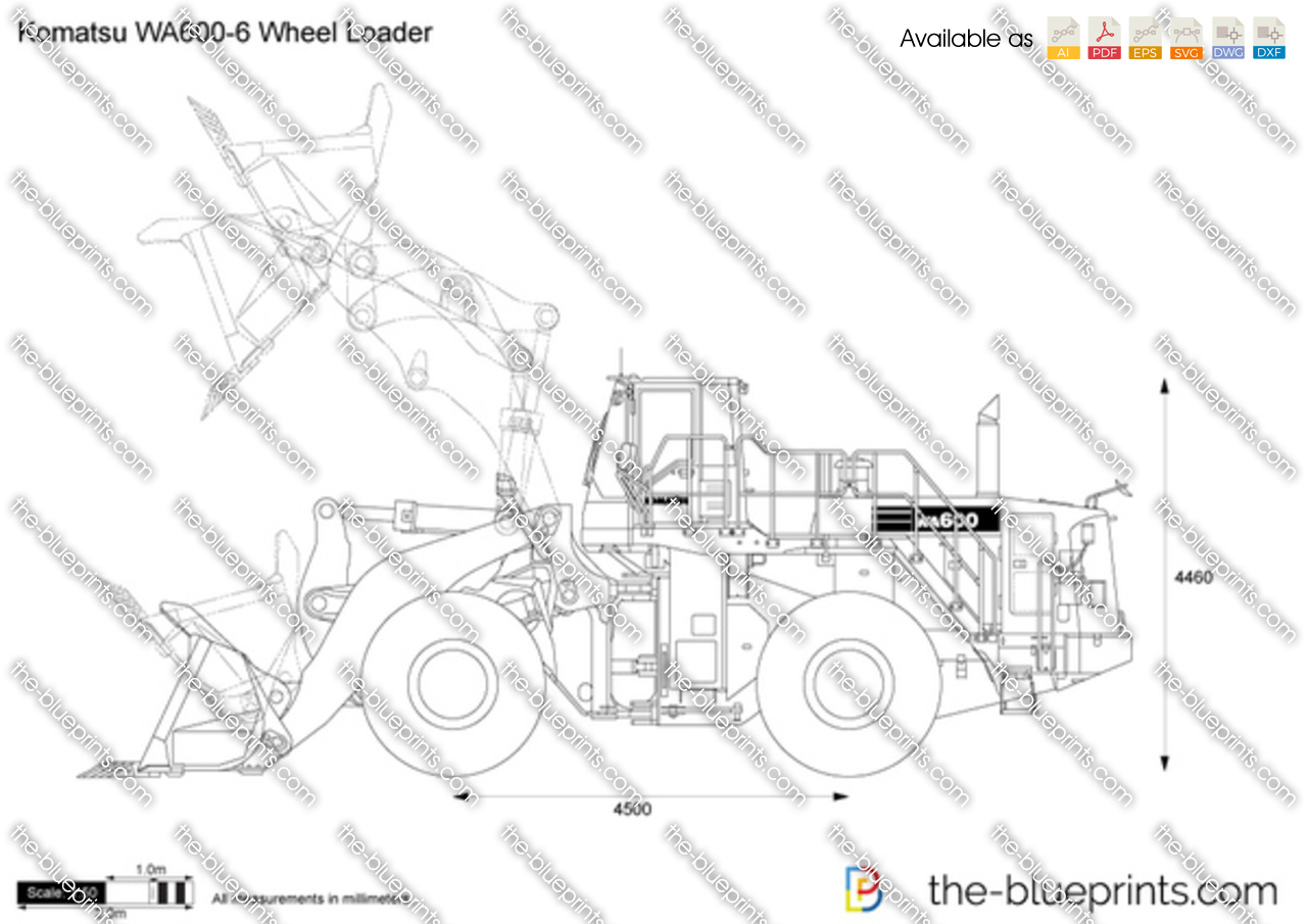 The blueprints com vector drawing komatsu wa600 6 wheel loader