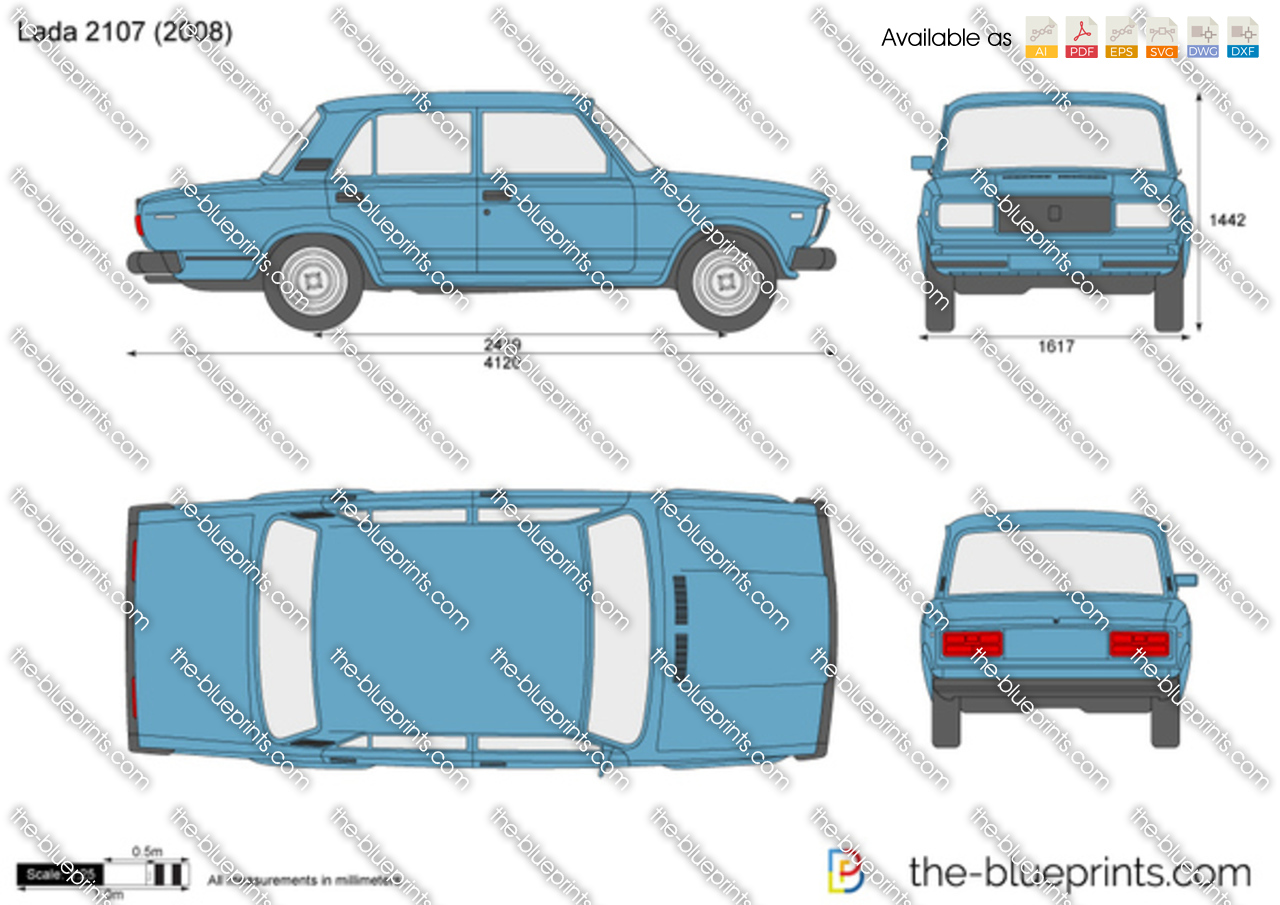 Lada 2107 Vector Drawing