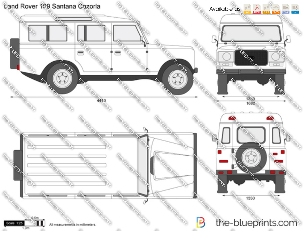 land rover 109 santana cazorla vector drawing
