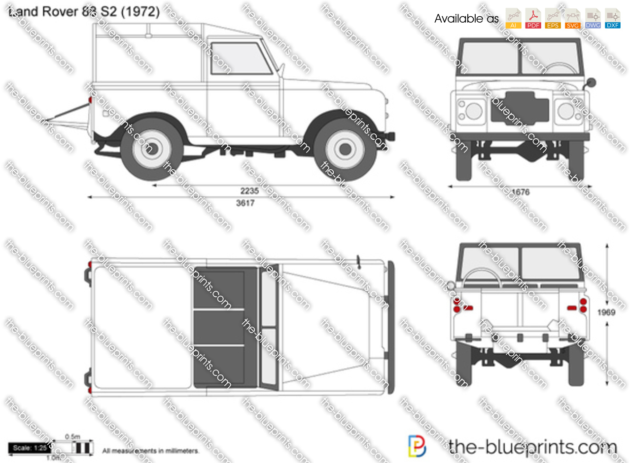 Land Rover 88 S2 Vector Drawing