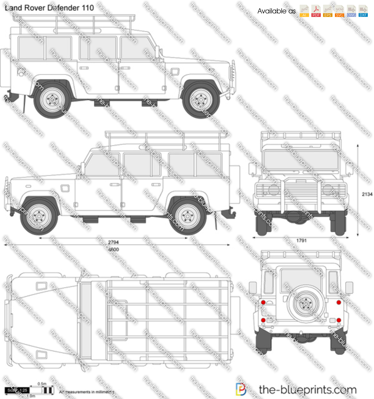 The Blueprints Com Vector Drawing Land Rover Defender 110