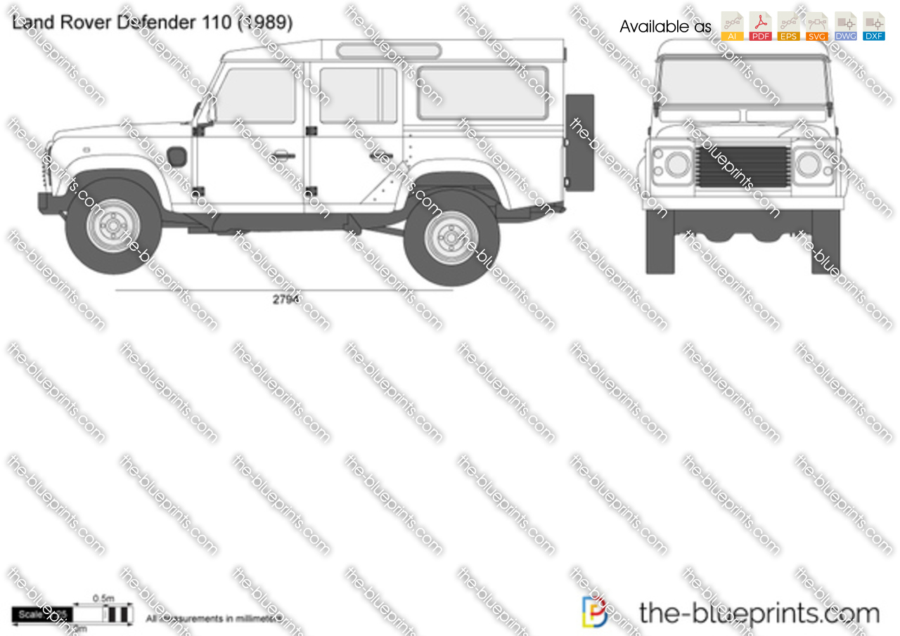 The vector drawing land rover defender 110 for Interieur defender 90