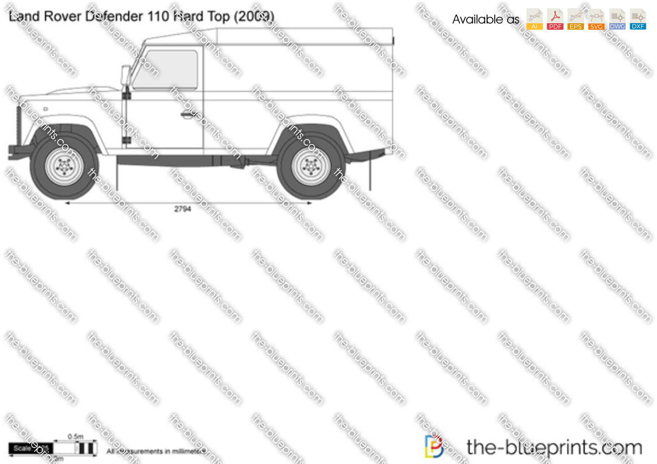 land rover defender 110 hard top vector drawing