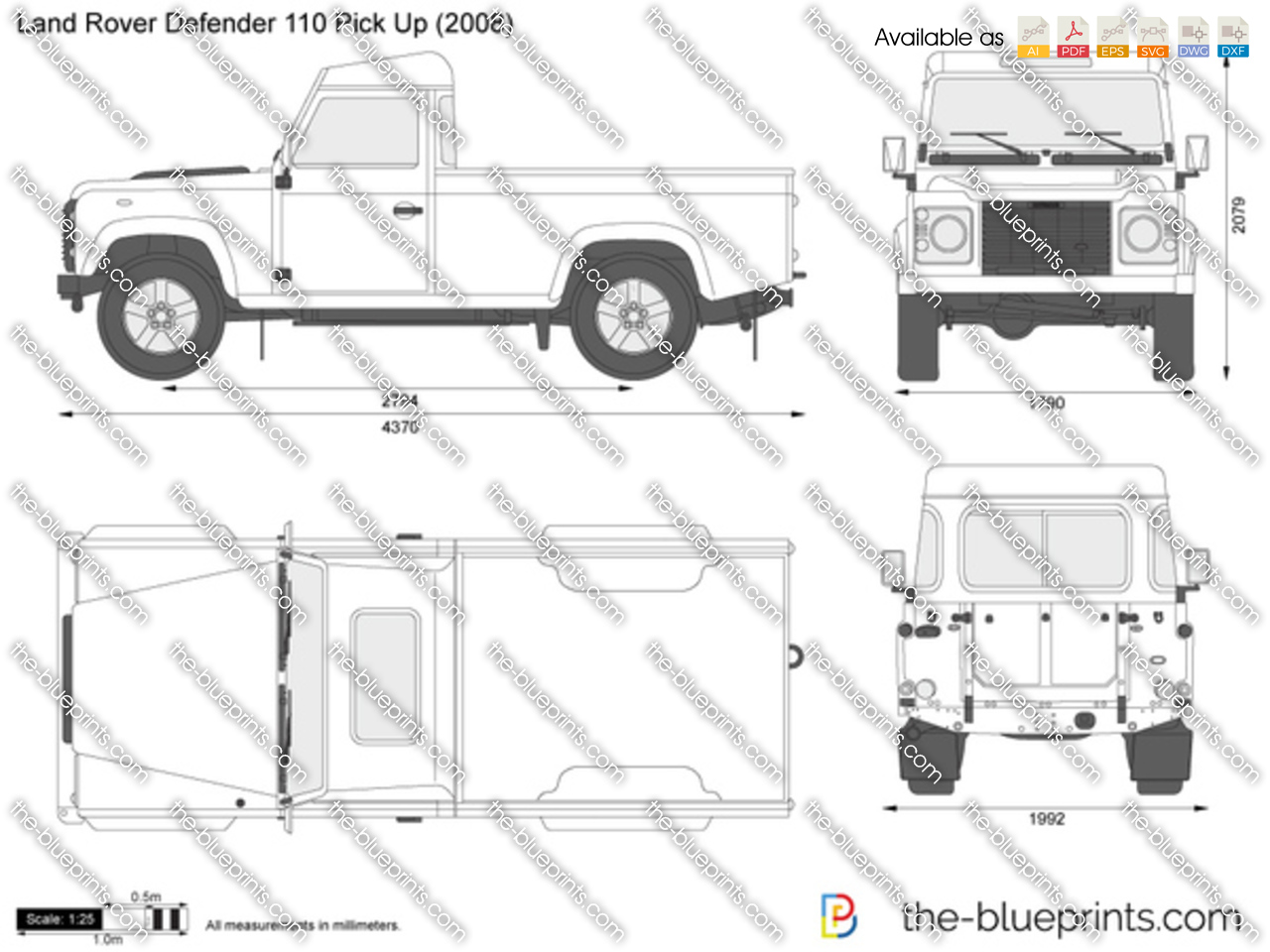 The Blueprints Com Vector Drawing Land Rover Defender