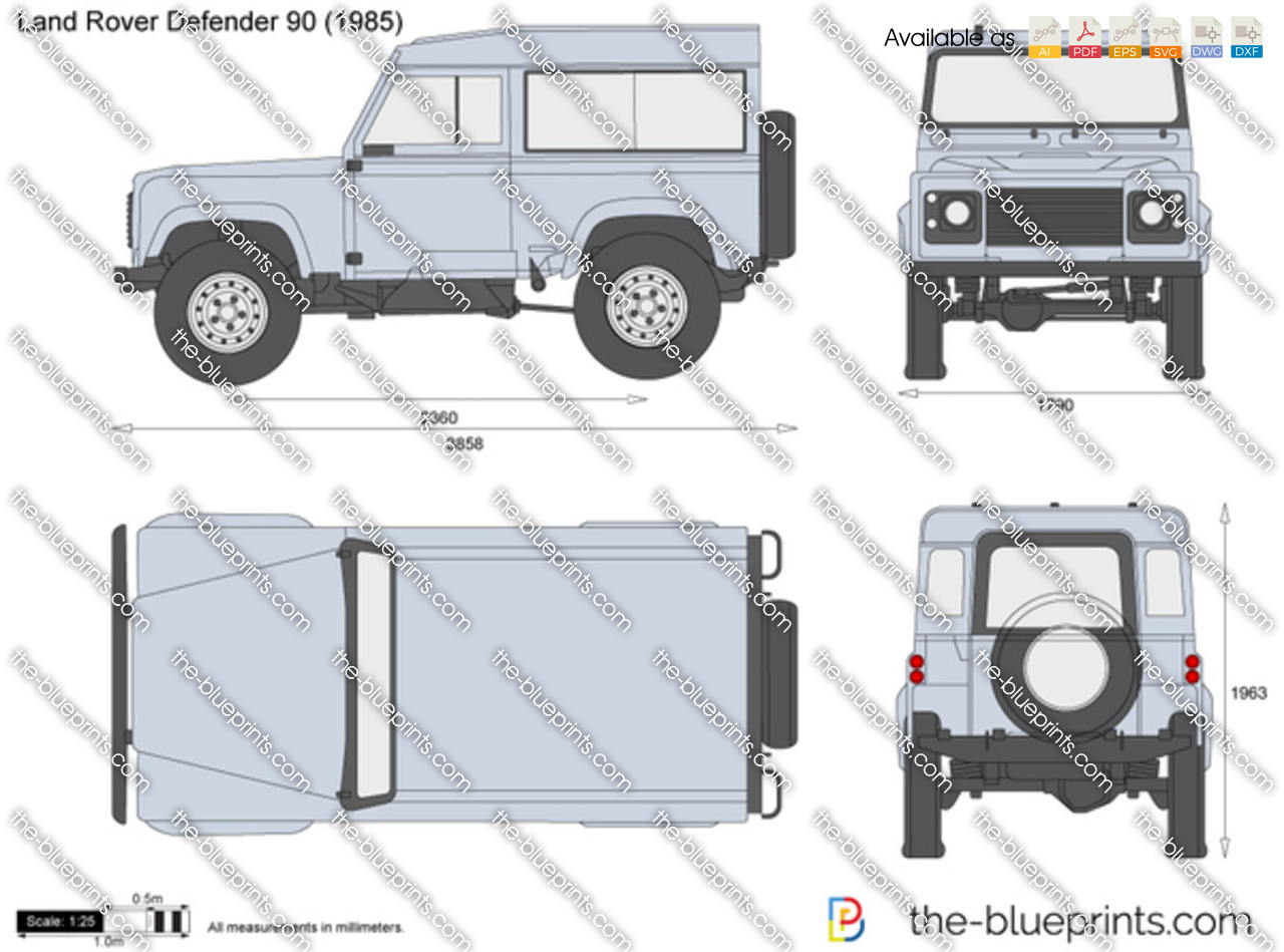 Land Rover Defender 90 Vector Drawing