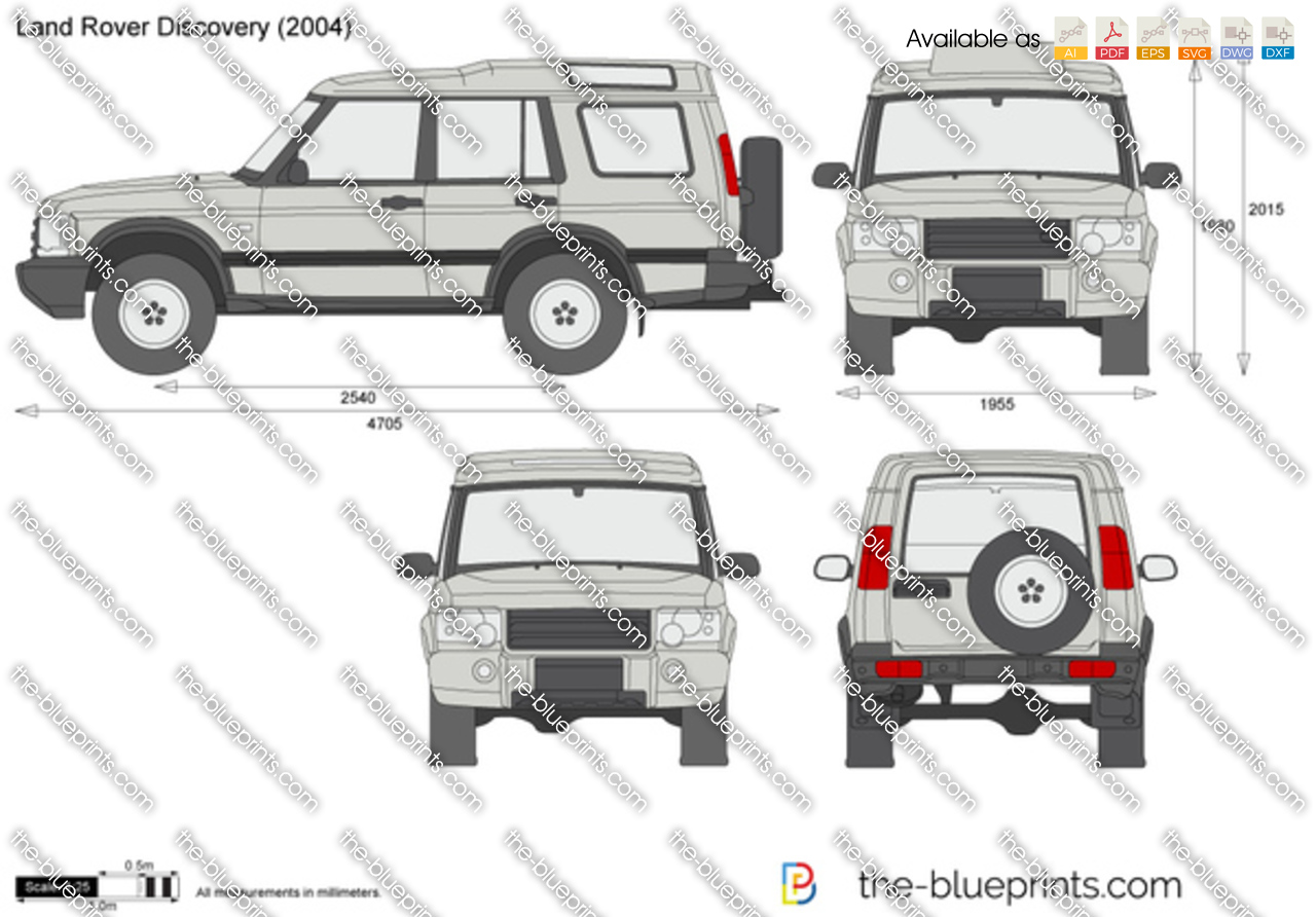 Online Blueprints Land Rover Discovery Vector Drawing