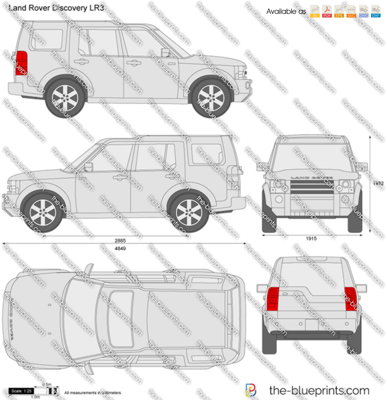 Land Rover Discovery LR3 Vector Drawing