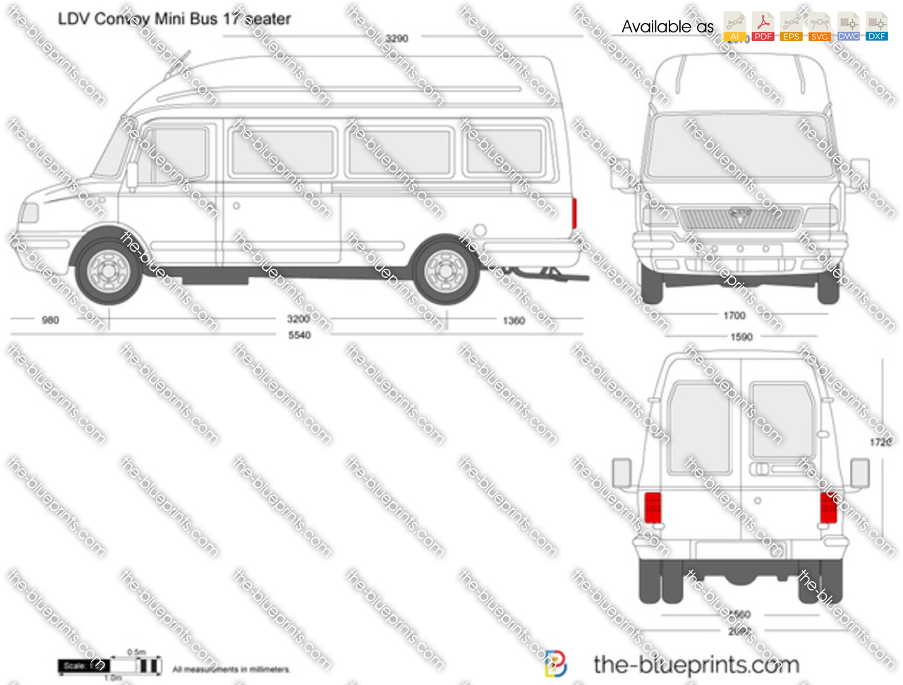 ldv convoy mini bus 17 seater vector drawing