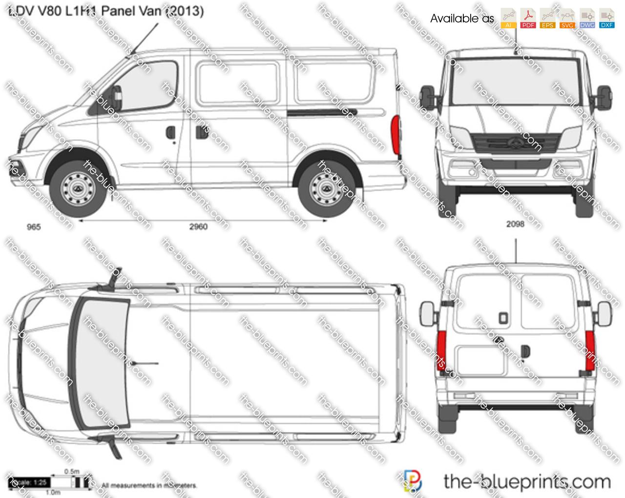 ldv v80 l1h1 panel van vector drawing