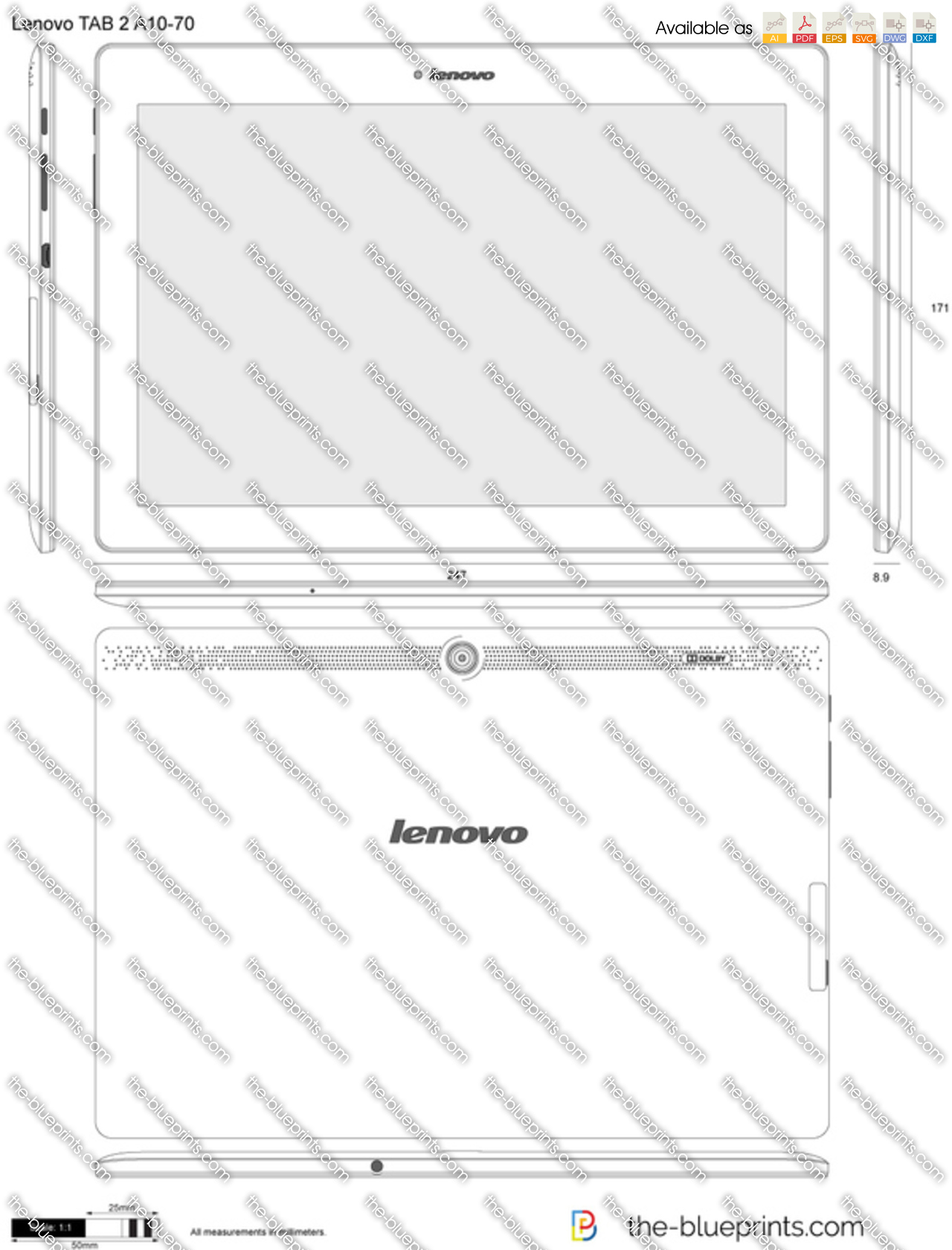Lenovo tab 2 a10 70 vector drawing lenovo tab 2 a10 70 malvernweather Image collections