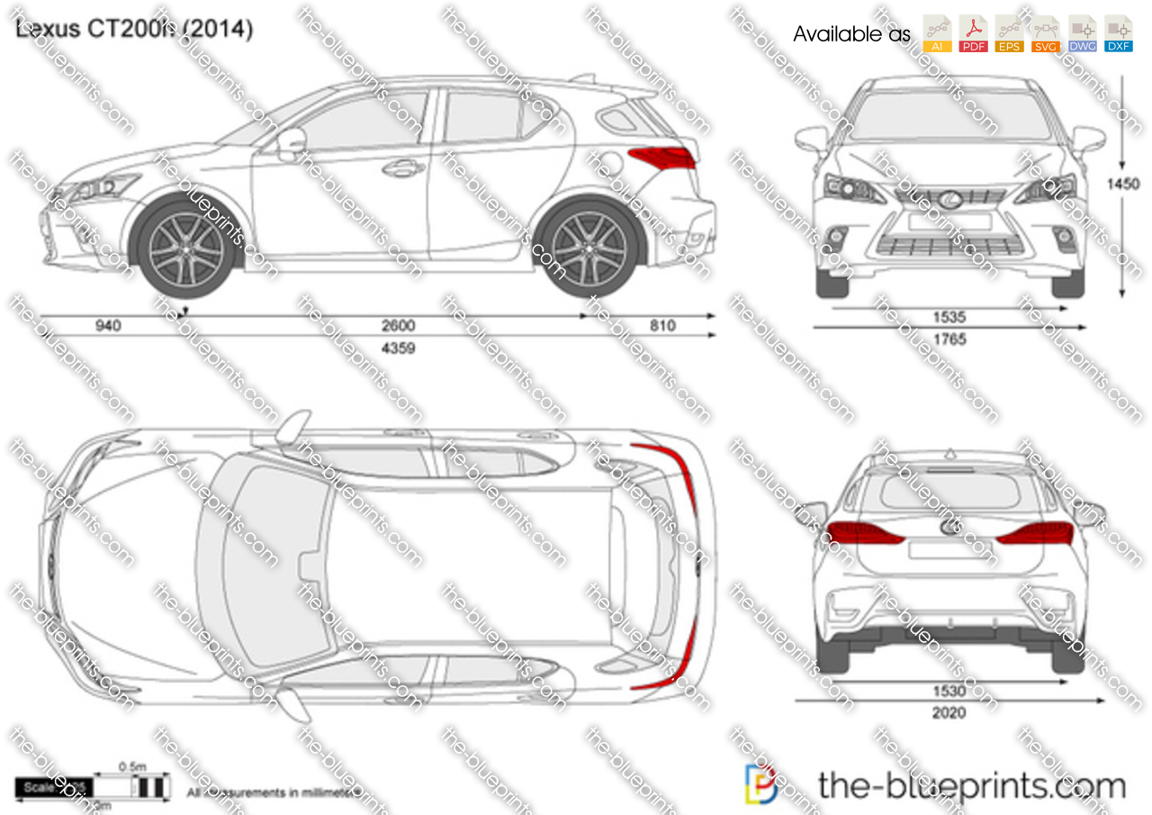 Lexus Ct200h Vector Drawing