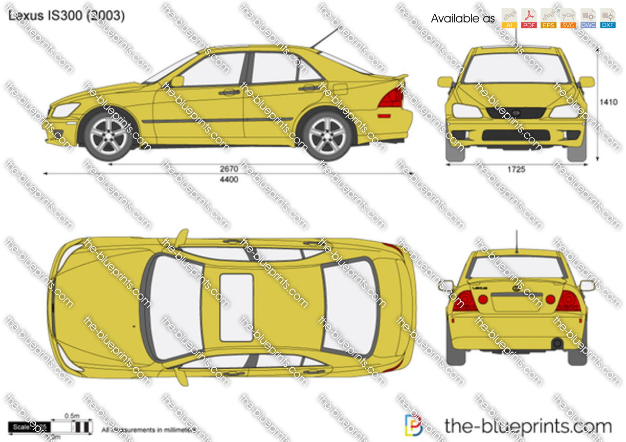 Lexus Is300 Vector Drawing